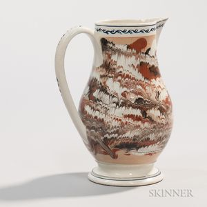 Marbled and Combed Slip-decorated Jug with Chinoiserie Embellishments