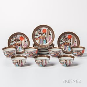 Seven Export Porcelain Tea Bowls and Saucers