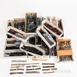 Large Collection of Wristwatch Leather Bands, and Bracelets