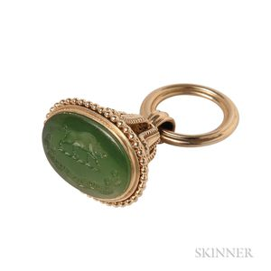 Antique Gold and Nephrite Seal Fob