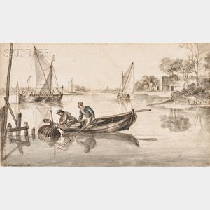 Dutch School, 18th Century      View of a River with a Fisherman in a Boat, Pulling Eel Traps