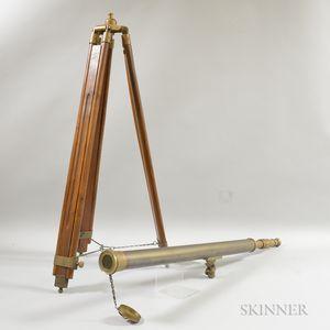 Modern Ross London Brass and Oak Telescope and Tripod.