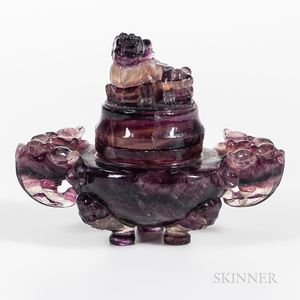 Carved Amethyst Tripod Censer and Cover