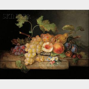 Henriette Gerbes (Austrian, 19th Century)      Elaborate Still Life with Fruit