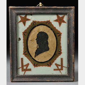Framed Silhouette of a Gentleman in a Masonic Reverse-painted Glass Mat