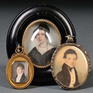 American and Continental School, Early 19th Century      Lot of Three Portrait Miniatures.