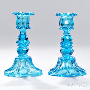 Pair of Peacock Blue Pressed Glass Petal and Loop Pattern Candlesticks