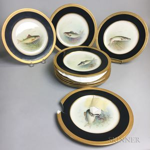 Set of Twelve Lenox Hand-painted Porcelain Fish Plates