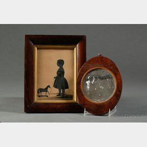 Lot of Two:  Silhouette of a Child with a Pull Toy and a Magnifying Mirror
