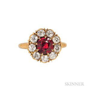 Antique 18kt Gold, Ruby, and Diamond Ring
