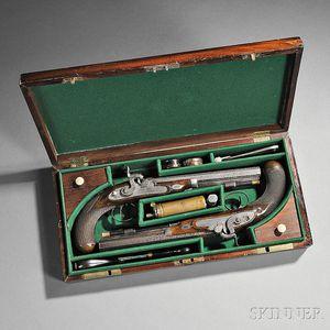 Cased Mortimer Dueling Pistol Set