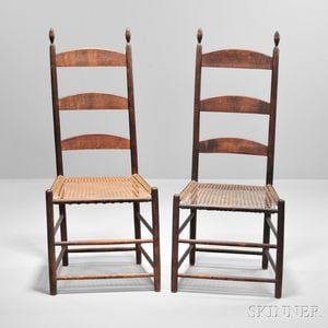 Pair of Shaker Dark Brown-stained Side Chairs