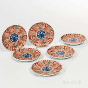 Set of Six Imari Chrysanthemum Dishes