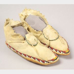 Southern Plains Beaded Hide Child's Moccasins