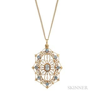 14kt Gold Gem-set Pendant