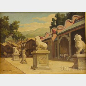 Framed Chinese/American School Oil on Canvas View of a Chinese Courtyard