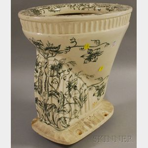 "British ""The Olungania"" Floral Transfer-decorated Porcelain Toilet"