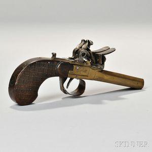 Belgian Brass Double-barrel Flintlock Pistol