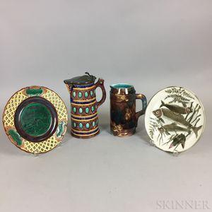 Four Wedgwood Majolica Items