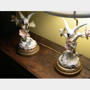 Pair of Continental Porcelain Bird/Floral Figural Boudoir Table Lamps, a Venetian Art Glass Mirrored Plateau and Table Lamp.