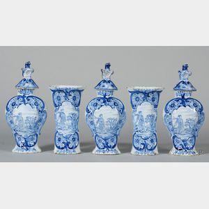 Dutch Delft Five Piece Mantel Garniture