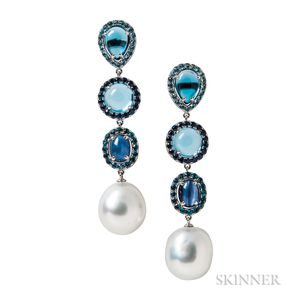 18kt White Gold, South Sea Pearl, Sapphire, and Blue Topaz Earrings