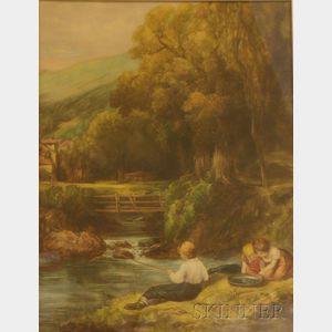 Framed Mezzotint on Paper of Children on a River Bank by Clifford R. James   (British, 19th/20th Century)