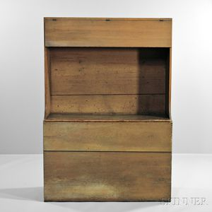 Shaker Yellow/Brown-painted Wood Box with Covered Shelf