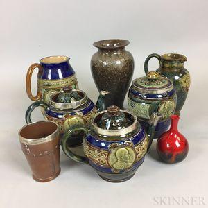 Eight Doulton Stoneware Items