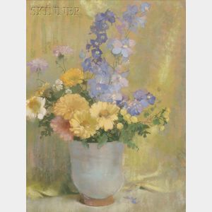 Laura Coombs Hills  (American, 1859-1952)      Yellow Zinnias and Larkspur
