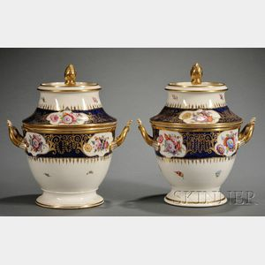 Pair of Regency Enamel Decorated and Parcel-gilt Porcelain Fruit Coolers
