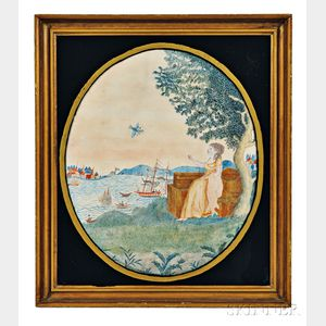 Watercolor of a Woman Overlooking a Harbor