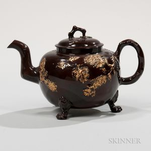 Glazed Redware Teapot and Cover