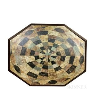 Paint-decorated Pine Octagonal Game Board Table Top