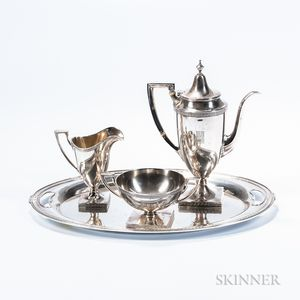 "Four-piece Gorham ""Etruscan"" Pattern Sterling Silver Coffee Service"