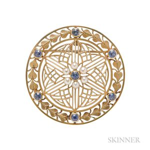 Art Nouveau 14kt Gold, Sapphire, and Pearl Pendant/Brooch