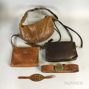 Group of Vintage Brown Leather Bags and Belts