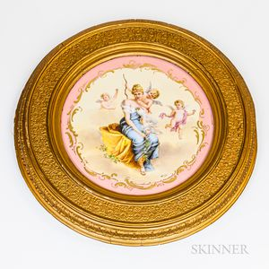 Hand-painted Porcelain Charger in a Gilt Frame