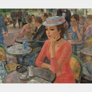 Francois Gall  (French, 1912-1987)      Woman in a Cafe