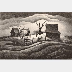 Thomas Hart Benton (American, 1889-1975)      Rainy Day