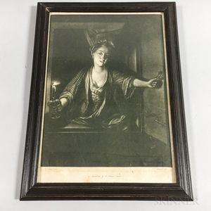 Framed Greenwood Mezzotint of a Woman