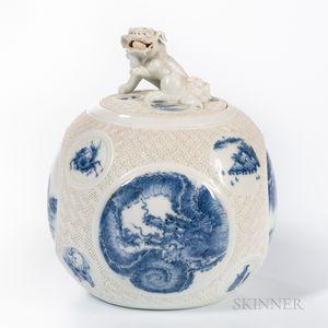 Hirado Blue and White Jar and Cover