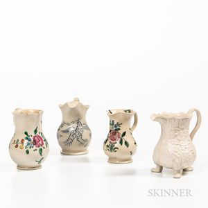 Four Small Staffordshire Salt-glazed Stoneware Cream Jugs