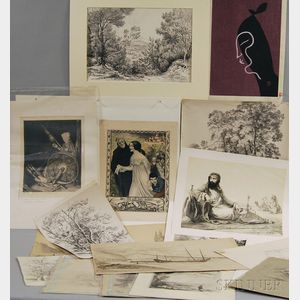 Large Group of Works on Paper:      Continental School, 19th Century, Six Landscape Studies