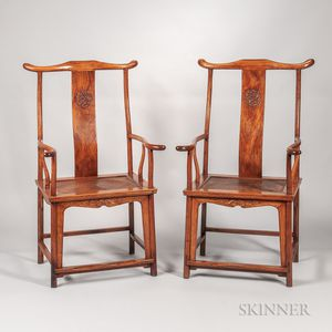 Pair of Huanghuali Yoke-back Armchairs