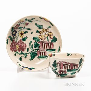 Staffordshire Enamel-decorated Salt-glazed Stoneware Teabowl and Saucer