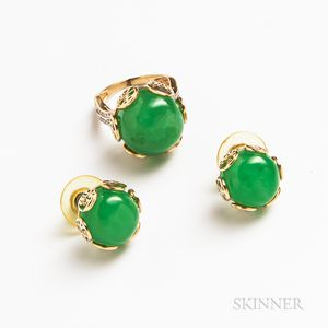 14kt Gold and Dyed Jade Earrings and Ring