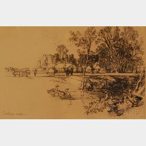 Sir Francis Seymour Haden (British, 1818-1910)      Cowdray Castle, with Geese