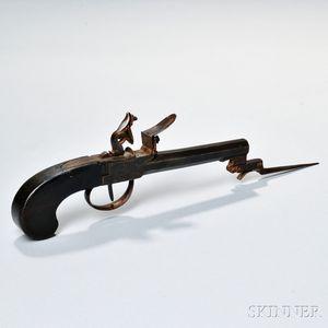 Boxlock Flintlock Pistol with Bayonet