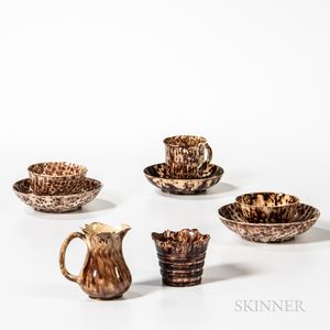 Three Staffordshire Brown Tortoiseshell-glazed Cups and Saucers, Cream Jug, and Bucket